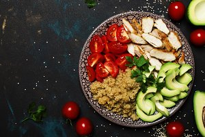 Healthy food, avocado, quinoa, chick
