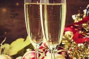 Champagne In A Glass, New Year or Ch
