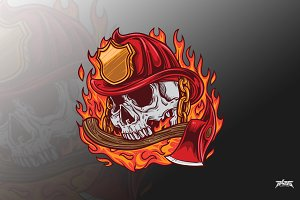 Fire fighter skull vector