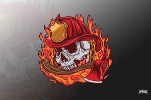 Fire fighter skull vector
