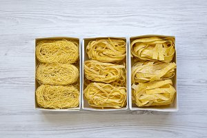 Set of different uncooked pasta