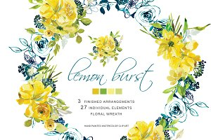 Watercolor Lemon Flowers Clipart