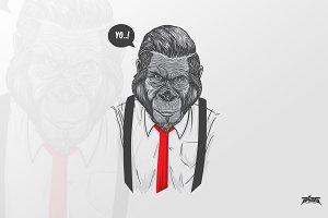 Slick Ape Vector Illustration