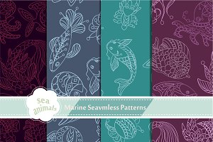 4 Seamless Patterns with Sea Animals