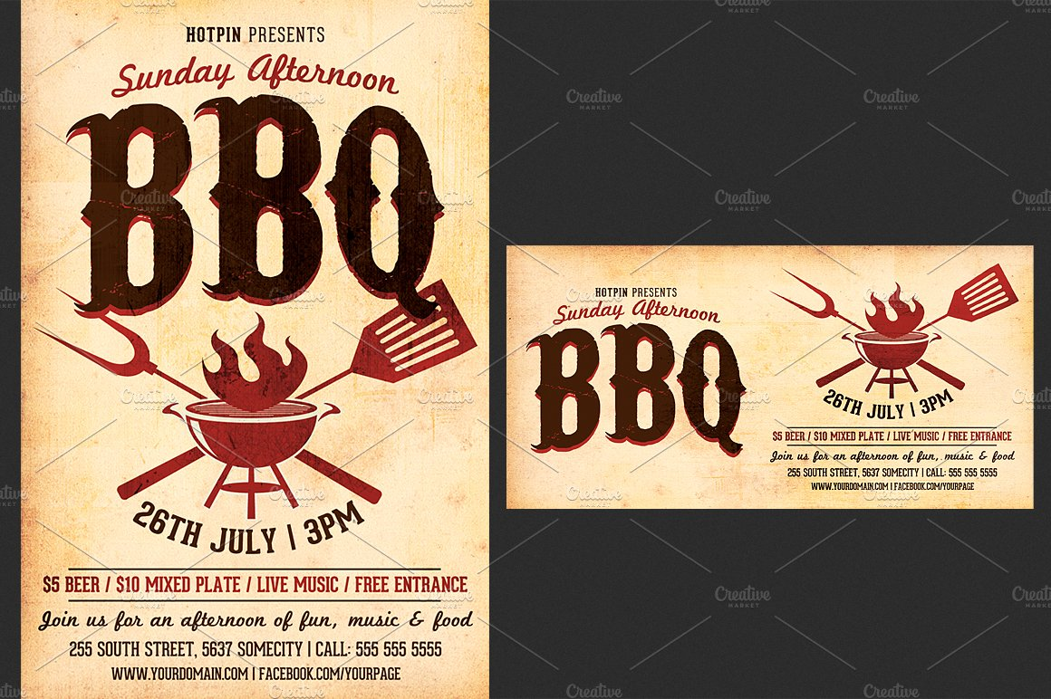 barbecue bbq flyer template flyer templates creative. Black Bedroom Furniture Sets. Home Design Ideas