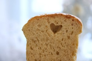 Heart in the bread