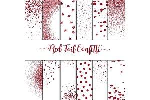 Red Foil Confetti Overlay Clipart