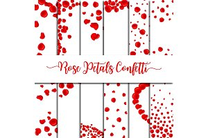 Red Rose Petals Confetti Overlay