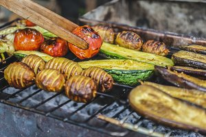Assorted grilled vegetables.Chef coo