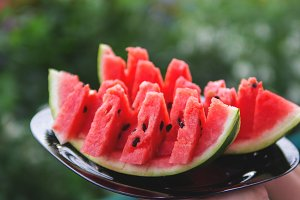 Juicy fresh watermelon on a plate on