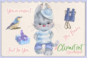 Cute kitten boy cgwatercolor clipart