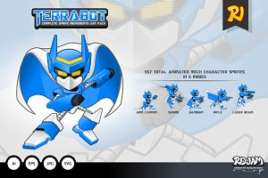 Terrabot Game Player Sprite Art Pack