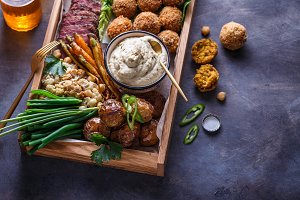 Close view of assorted meze
