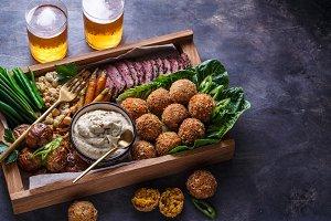 Arabian meze food falafel, beef