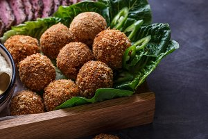 Falafel balls on a romano leafs in a