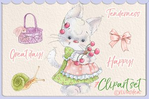 Cute baby girl kitten clipart set