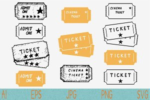 cinema ticket, set vector svg png