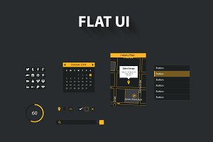 Grey and Yellow Flat UI