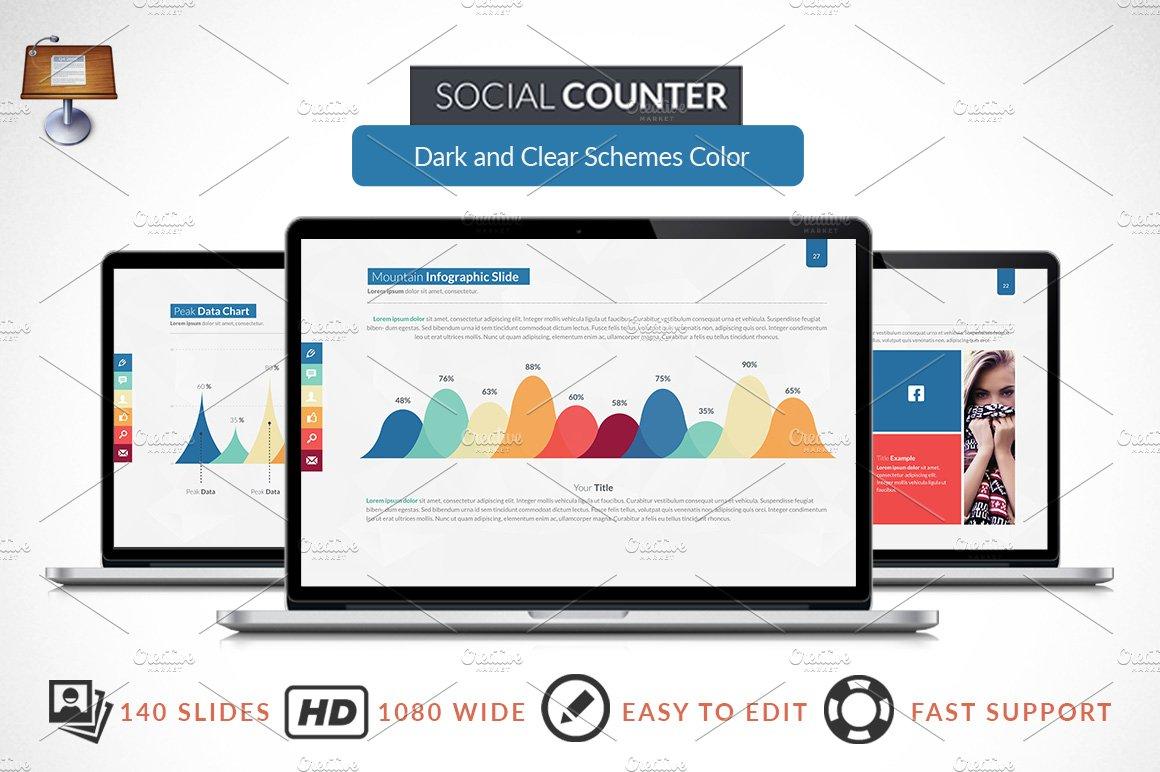 social counter keynote template presentation templates creative market. Black Bedroom Furniture Sets. Home Design Ideas