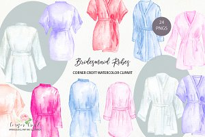 Watercolor bridesmaid robe clipart