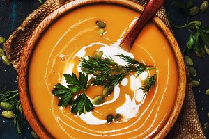 Pumpkin Soup With Cream. Rustic Styl