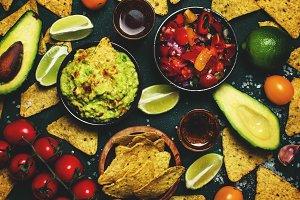 Tex-Mex Food, Nachos, Guacamole, Sal