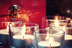 burning candles, christmas evening