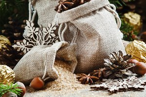 Winter Christmas spices, candy and n