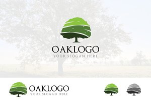Green Oak Tree Evergreen Logo