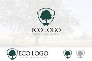Oak Tree in Shield Protection Logo