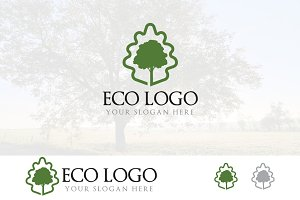 Oak Tree Leaf Elegant Green Logo