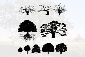 Oak Tree Silhouette Illustration