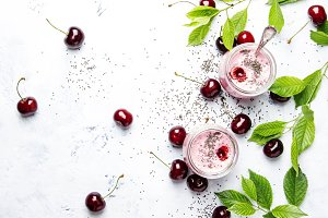 Pink cherry smoothies with yoghurt a