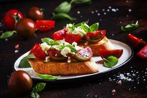 Italian crispy toasted bruschetta wi
