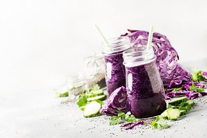 Healthy vegan detox purple smoothies
