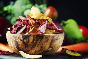 Vegan snacks, multicolored vegetable