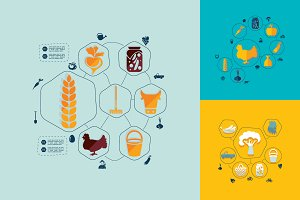 9 agriculture flat infographics