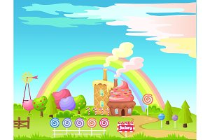 Candy Factory Fairy Cartoon Flat