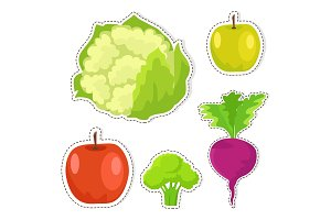 Ripe Fruits and Vegetables Vector