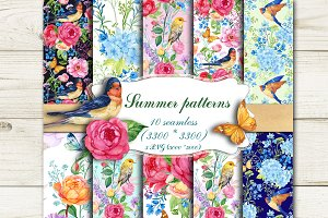 Summer Seamless Patterns Watercolor.