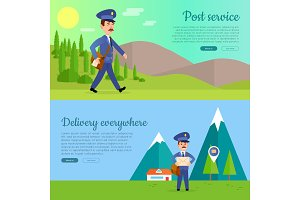 Post Service Vector Cartoon Web