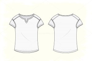 Women Open Neck Tee Vector Apparel
