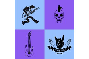 Forever Rock Music Icons on Vector