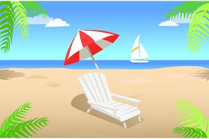 Sunbed with Umbrella on Sandy Beach