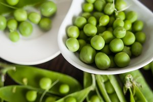 green peas on the table