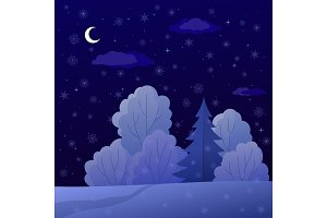 Christmas Landscape, Night Forest