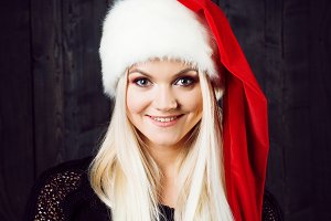 Charming blond woman in Christmas