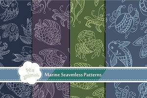 Marine Life 4 Seamless Patterns
