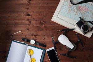 Layout of modern traveler, lifestyle