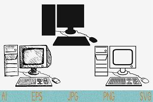 retro desktop computer svg png eps